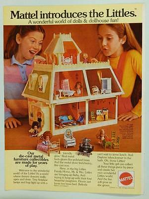 1981 The Littles Dolls and Dollhouse Mattel Vintage Ad Cute Little Girls Playing