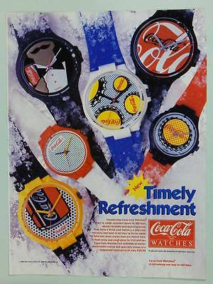 1986 Coca-Cola Brand Watches - Vintage Magazine Ad Page - 80s Style