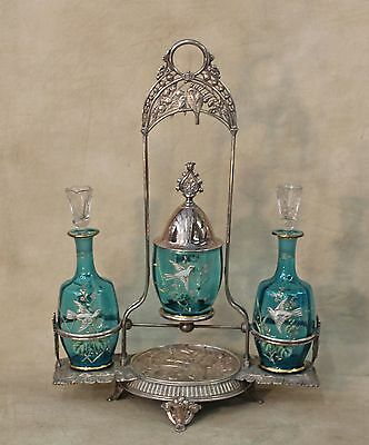 19th c Meriden Victorian Silverplated Cologne Perfume Castor Holder HP Doves