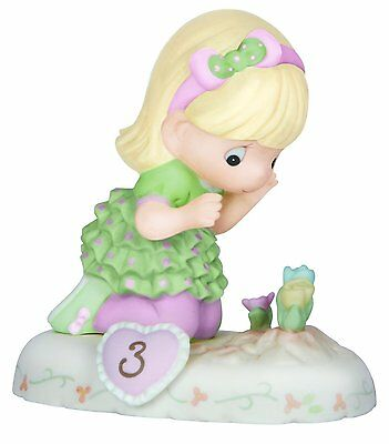 Precious Moments, Growing In Grace Age 3, Blonde Girl Porcelain Figurine, no box