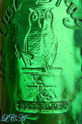 CLEAN and PRISTINE deep emerald GREEN antique OWL DRUG bottle w/ pic owl
