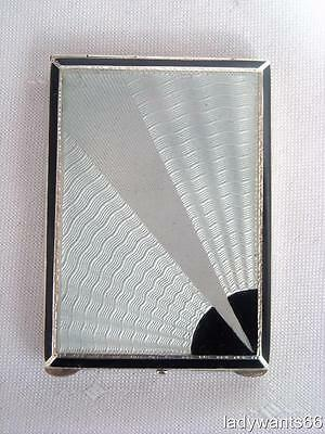 Art Deco Sterling Silver & Guilloche Enamel Match Holder / Vesta Case Hm 1931