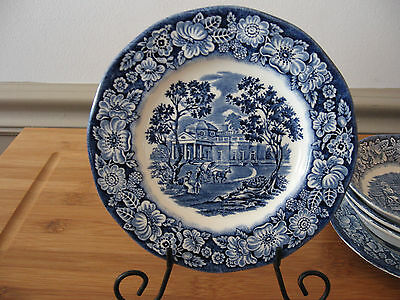 LIBERTY BLUE Betsy Ross Historic Colonial Scenes Staffordshire Monticello plate