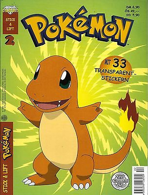 Pokemon Stick & Lift Nr.2 / 2001 Mit 33 Transparentstickern