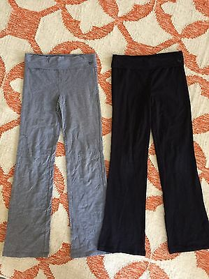 2 Pairs Girls Justice Yoga Pants Athletic Knit Stretch 14 Gray Black
