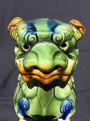 "Vintage 10"" Ceramic Foo Dog Feng Shui Majolica Chinese Asian Ming Dynasty statue"
