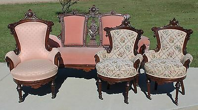 Walnut Victorian Renaissance Revival Parlor Set~Settee~Armchair~ 2 Side Chairs