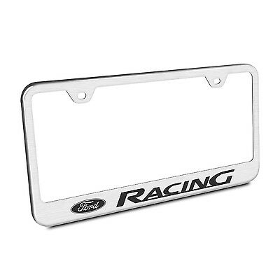 Ford Racing Brushed Chrome Stainless Steel License Plate Frame