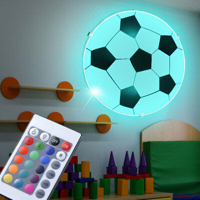RGB LED Football Wall Light Children Room Remote Control Ceiling Lamp Dimmable