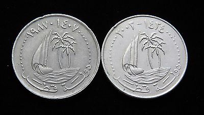 Two State Of Qatar 50 Dirhams Coins 1987 & 2003 Lot GB69