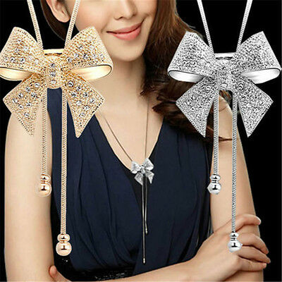 Women Crystal Bowknot Gold Silver Plated Statement Pendant Long Chain Necklaces