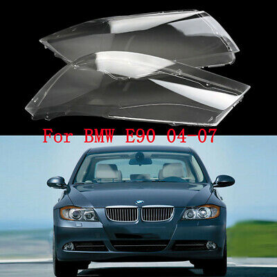 1pair Front Headlight Headlamp Plastic Clear Lens Cover For BMW E90/E91 2004-07