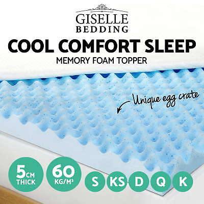 Cool Gel Egg Crate Mattress Topper Memory Foam 5CM Underlay Protector All Size