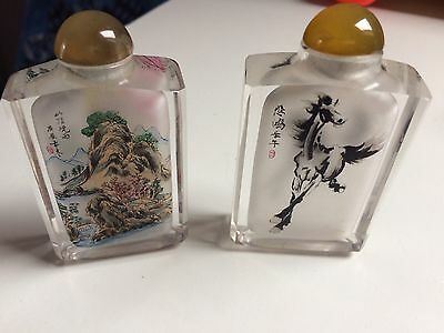 2 x JAPANESE SNUFF BOTTLE INSIDE PAINTED ANTIQUE