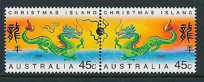 2000 Christmas Island Year of the Dragon set of 2 Fine Mint MNH/MUH