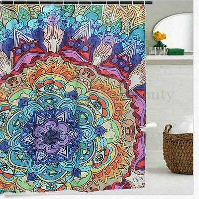 1.8m Waterproof Mandala Bathroom Shower Curtain Bohemian Panel Fabric Sheer AU
