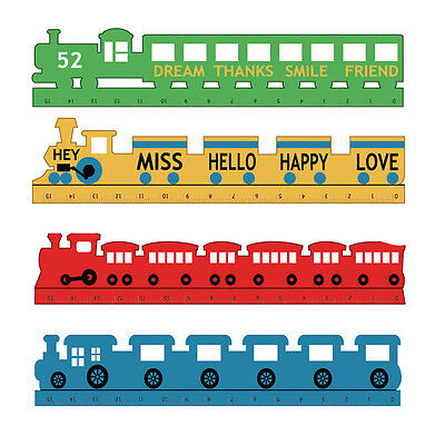 Cute Candy Color Train Shape Wooden Ruler Scale Ruler Kids Students Stationery