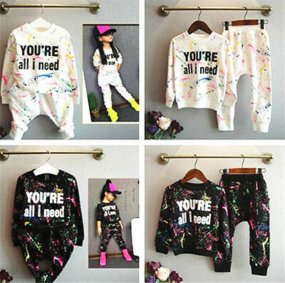 2pcs Kids Girls Set Casual T-shirt Tops+Pants Spring Tracksuit Clothes Outfits