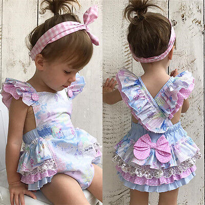 Lovely Infant Baby Girl Floral Romper Bodysuit Jumpsuit Outfits Sunsuit Clothes
