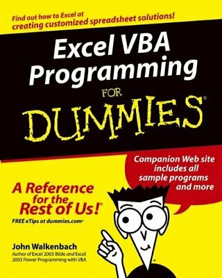 Excel VBA Programming For Dummies by Walkenbach, John Paperback Book The Cheap