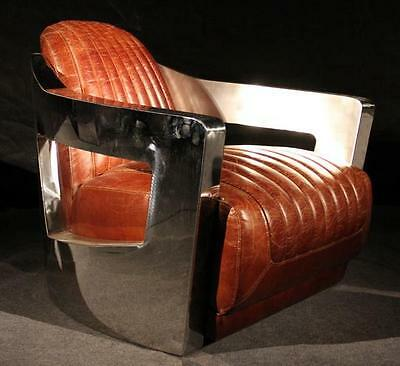 Brown Leather & Stainless Steel 'Mars' Armchair - Stunning Art Deco Style