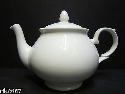 4 Cup Teapot In Amber Shape White English Fine Bone China By Milton China