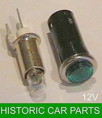 12v Green Dashpanel warning lamp with replaceable 12 volt bulb