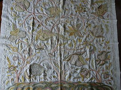 Beautiful Antique/Vintage Crewelwork Embroidery Panel Cloth