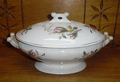 Burgess & Campbell Ironstone China Covered Vegetable Tureen - Moss Rose - Stains