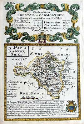 RADNORSHIRE  WALES  BY EMANUEL BOWEN GENUINE ANTIQUE MAP c1720
