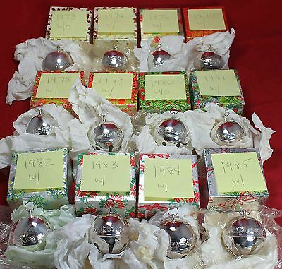 (23) 1973-1996 Wallace Silverplate Sleigh Bell Christmas Ornament Lot