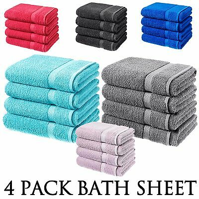 Bath Sheet Luxury 100% Cotton Bathroom Towel Bath 4 Pack