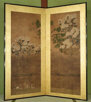Japanese Sceen with Floral design. Late Edo period , 18-19 th c  I51