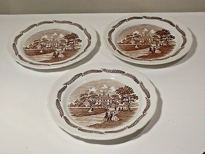 "3 J & G Meakin Colonial Brown 10 1/4"" Dinner Plates Appear Unused"