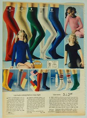 Girls' Tights Leotards Socks - Vintage 1978 Montgomery Wards Catalog Page / Ad