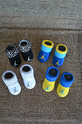 NEW ~ 4 Pair Nike Air JORDAN BABY Infant CRIB Shoes Booties Socks 0-6