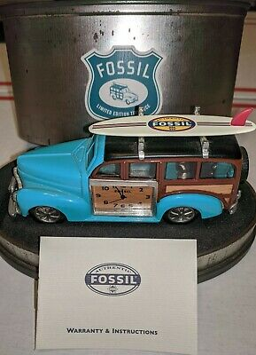 Fossil  Limited Edition  Surf Antique Car  Clock  Timepiece  Rare  Metal