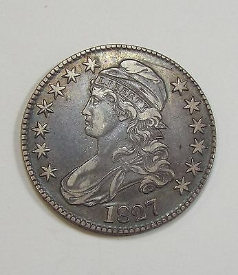 BARGAIN 1827 Square Base 2 Capped Bust/Lettered Edge Half Dollar XF Silver 50c