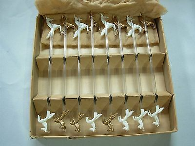 16 Vintage Glass Swizzle Stir Sticks With Gold & White Leaping Horses ~ Mib!
