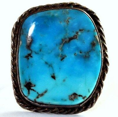 Vintage Native American Sterling Silver and Turquoise Ring Size 6 1/4