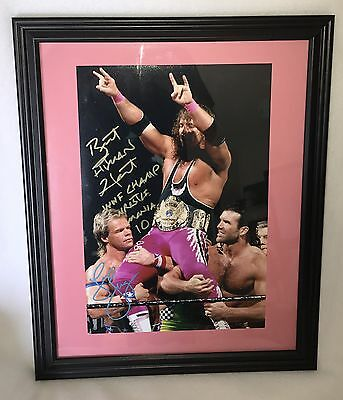 """Bret """"The Hitman"""" Hart Signed Inscribed Framed & Matted WWE Champion 10x15 Photo"""