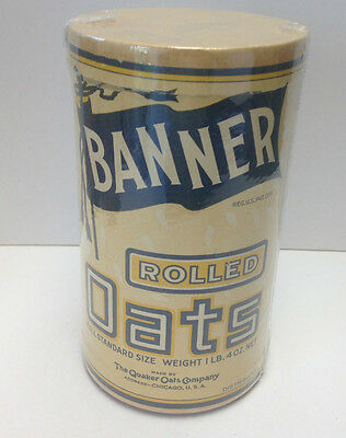 Rare BANNER Rolled Quaker Oats Original Cardboard Box Container 1910 Ex Cond.