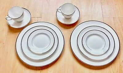 New Wedgwood England Fine Bone China Dinner 5 Pc Set Plate White Sterling Silver