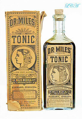 ORIGINAL antique DR MILES RESTORATIVE TONIC aqua QUACK bottle BIM in BOX w/LABEL