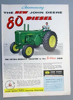 Original 1955 John Deere Model 80 Tractor Ad THE EXTRA QUALITY 5 PLOW TRACTOR