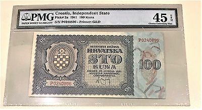 100 KUNA CROATIA INDEPENDENT STATE 1941 PICK #2a-PMG 45EPQ CHOICE EXTREMELY FINE