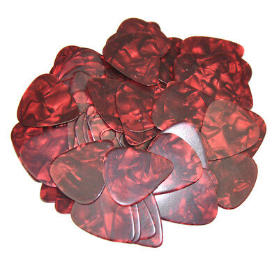 Lots of 100 pcs Thin 0.46mm Guitar Picks Plectrums No Print Celluloid Pearl Red
