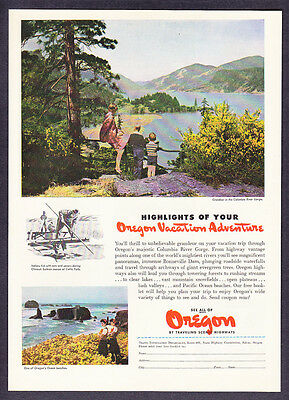 """1946 Columbia River Gorge photo """"Vacation Highlights"""" Oregon Tourism print ad"""