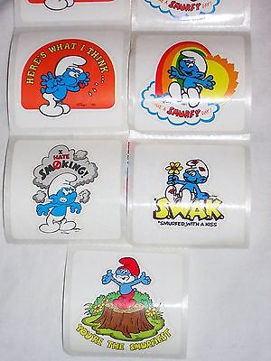 Lot of 100 Vintage 1983 Smurf Stickers~5 Designs~Collect~Scrapbooking Free Ship