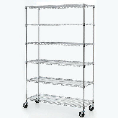 "Heavy Duty 6 Adjustable 82""x48""x18"" Tier Layer Wire Shelving Rack Steel Shelf"